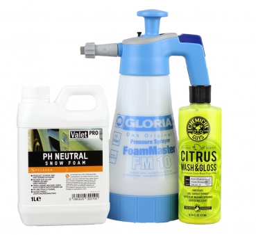 Gloria FM 10 Foam Master + ValetPro Snow Foam 1L + Chemical Guys Citrus Wash and Gloss 473ml