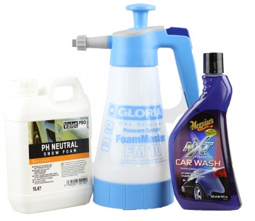 Gloria FM 10 Foam Master + ValetPRO ph neutral Snow Foam 1000ml + Meguiar`s NXT Shampoo 532 ml