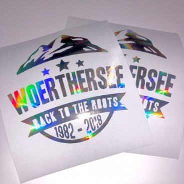 "Kustomwork ""Woerthersee Back to the roots 1982-2018"" Aufkleber oilslick glitzer"