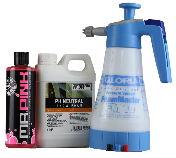 Gloria FM 10 foam Master+ ValetPro ph neutral Snow Foam 1 Liter+ Chemical Guys Mr.Pink